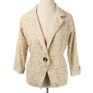 Anthro Corey Lynn Calter Beige Crochet Lace Blazer